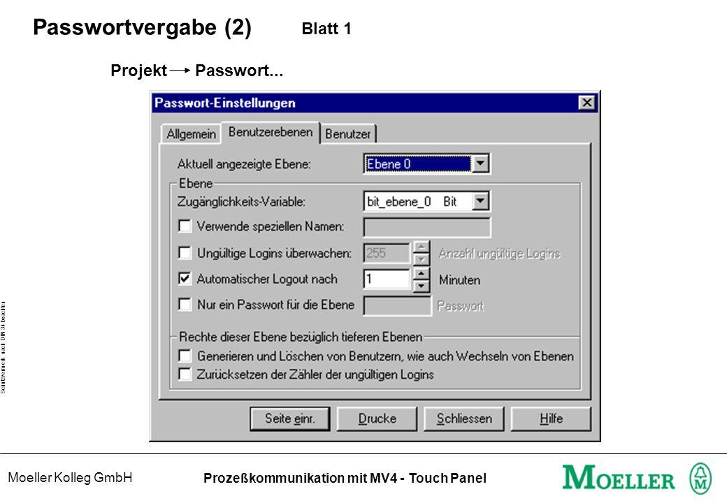 Moeller Kolleg GmbH Schutzvermerk nach DIN 34 beachten Prozeßkommunikation mit MV4 - Touch Panel Passwortvergabe (2) Blatt 1 Projekt Passwort...
