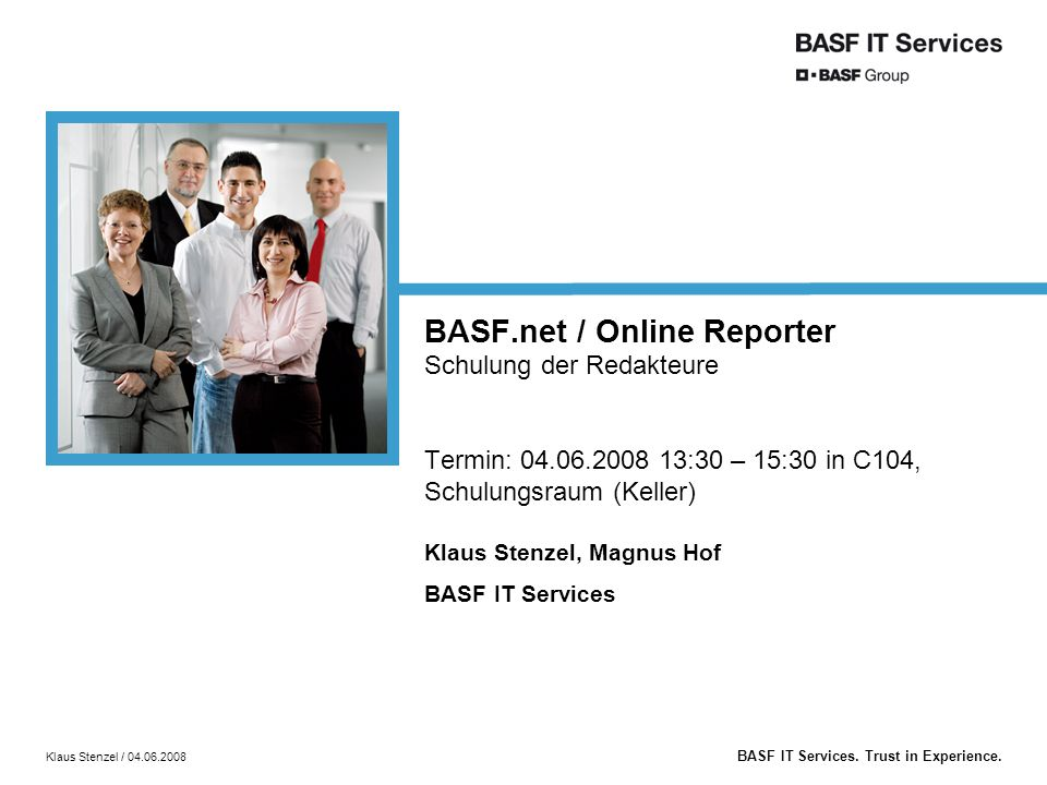 BASF IT Services.Trust in Experience.