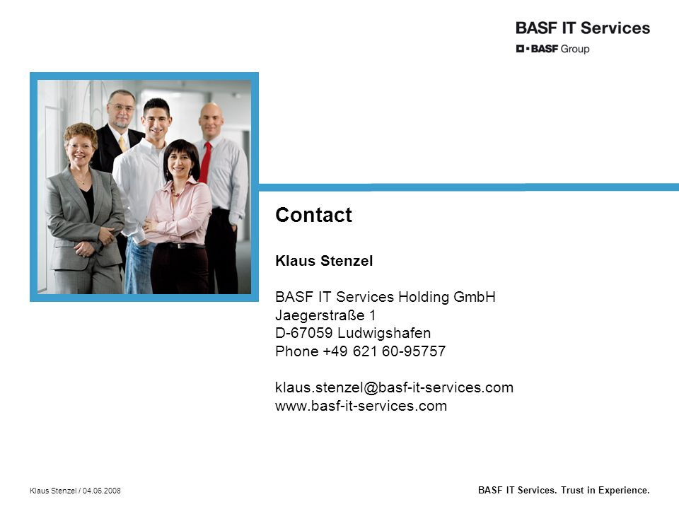 BASF IT Services. Trust in Experience.