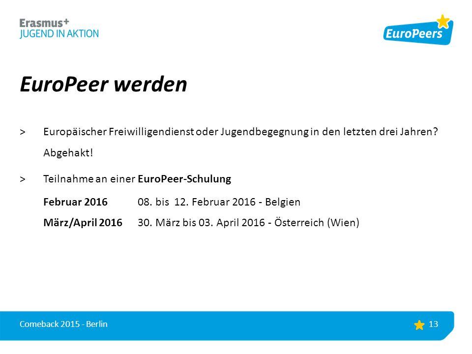EuroPeer werden >Europäischer Freiwilligendienst oder Jugendbegegnung in den letzten drei Jahren.