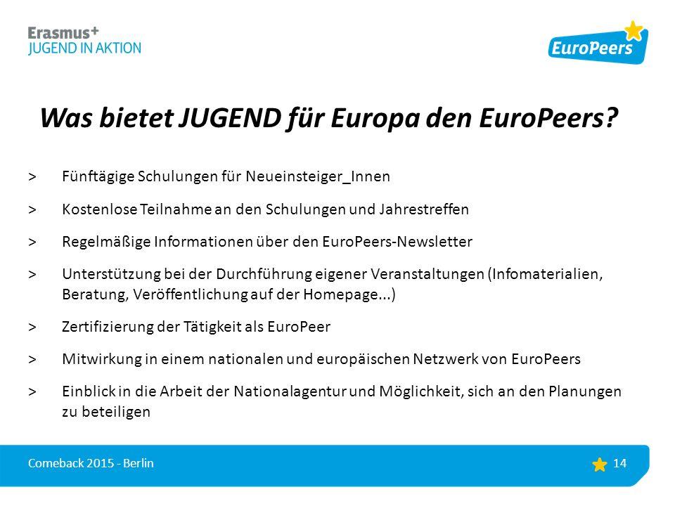 Was bietet JUGEND für Europa den EuroPeers.
