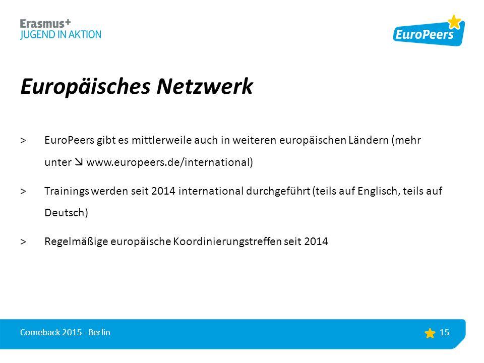 Europäisches Netzwerk >EuroPeers gibt es mittlerweile auch in weiteren europäischen Ländern (mehr unter  www.europeers.de/international) >Trainings werden seit 2014 international durchgeführt (teils auf Englisch, teils auf Deutsch) >Regelmäßige europäische Koordinierungstreffen seit 2014 15 Comeback 2015 - Berlin