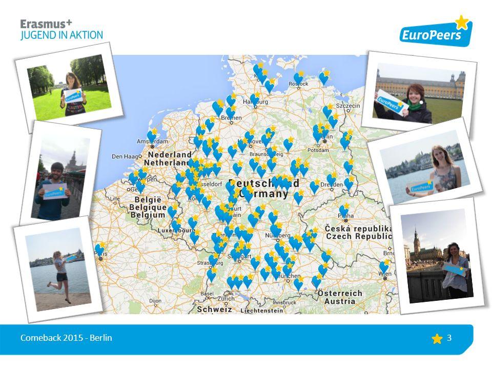 Ziele des Projekts >Peer-to-peer Vermittlung einer lebendigen Dimension von Europa >Informationen für Jugendliche über das Programm Erasmus+ JUGEND IN AKTION >Informationen für Jugendliche über weitere Möglichkeiten, um in Europa aktiv zu werden >Ermutigung von Jugendlichen zu mehr europäischem Engagement und Mobilität in Europa 4 Comeback 2015 - Berlin