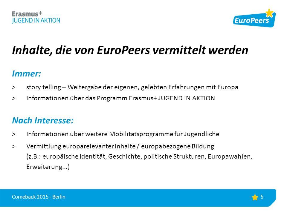 EuroPeer-Veranstaltungen Was.Workshops, Vorträge, Infostände, kreative Aktionen...