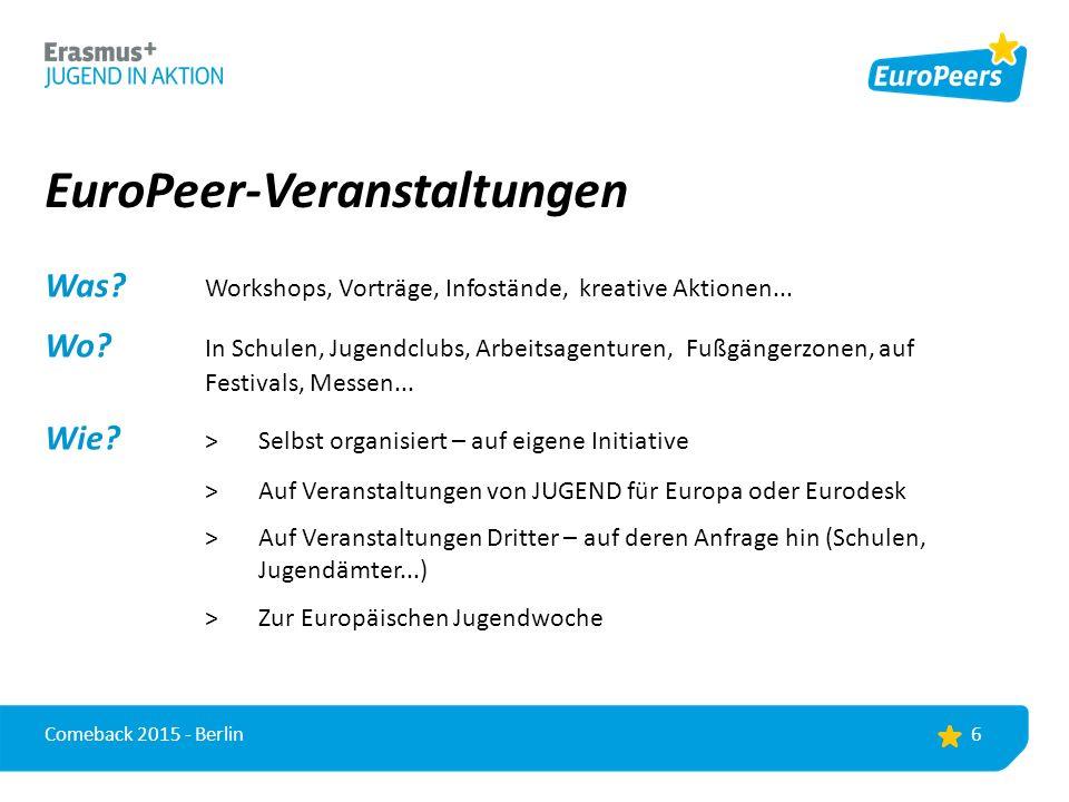 EuroPeer-Veranstaltungen Was. Workshops, Vorträge, Infostände, kreative Aktionen...