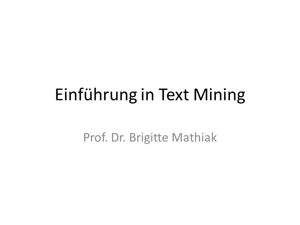 Was ist Text Mining.