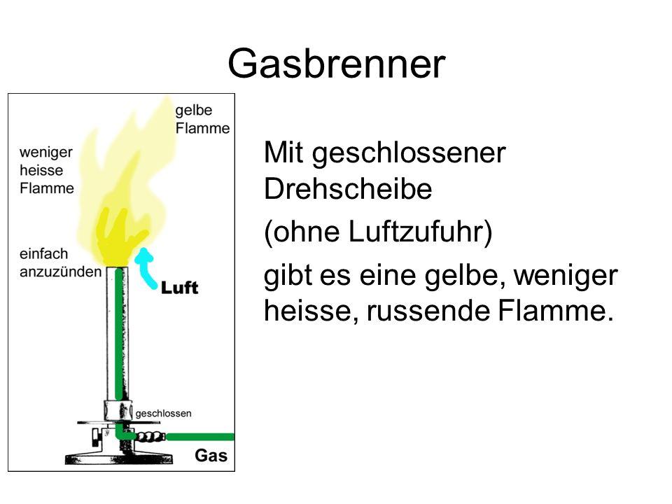 Gasbrenner Mit geschlossener Drehscheibe (ohne Luftzufuhr) gibt es eine gelbe, weniger heisse, russende Flamme.