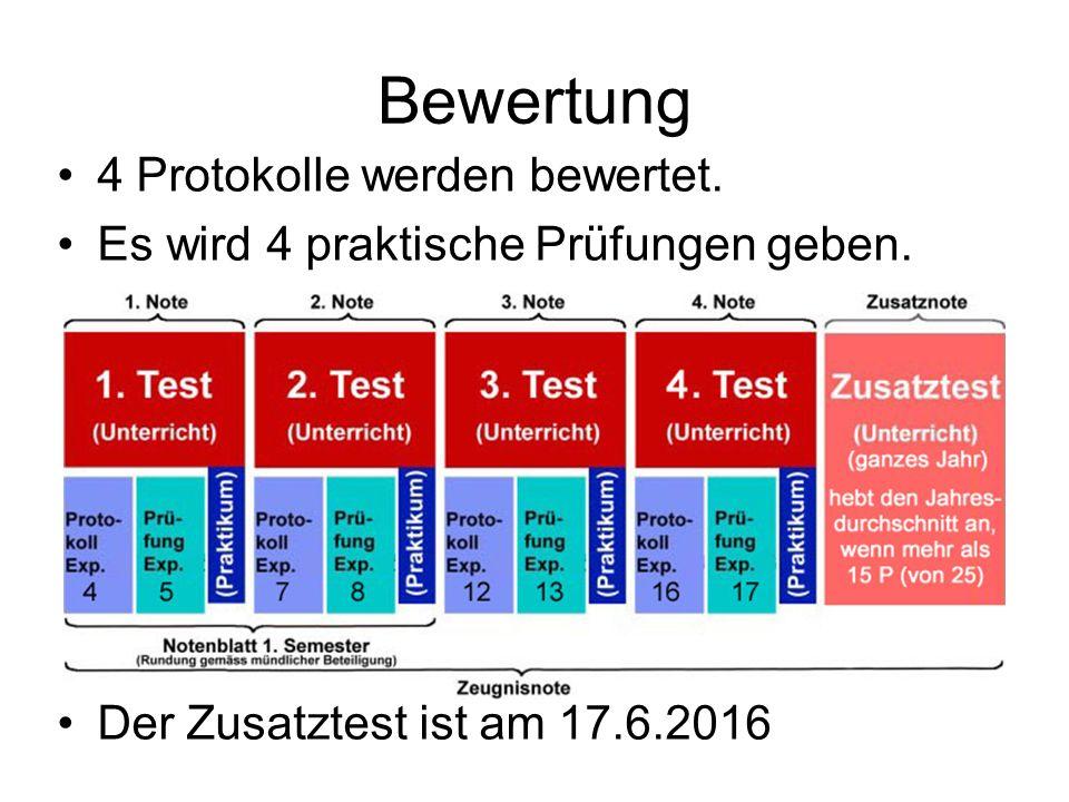 Bewertung 4 Protokolle werden bewertet. Es wird 4 praktische Prüfungen geben. Der Zusatztest ist am 17.6.2016