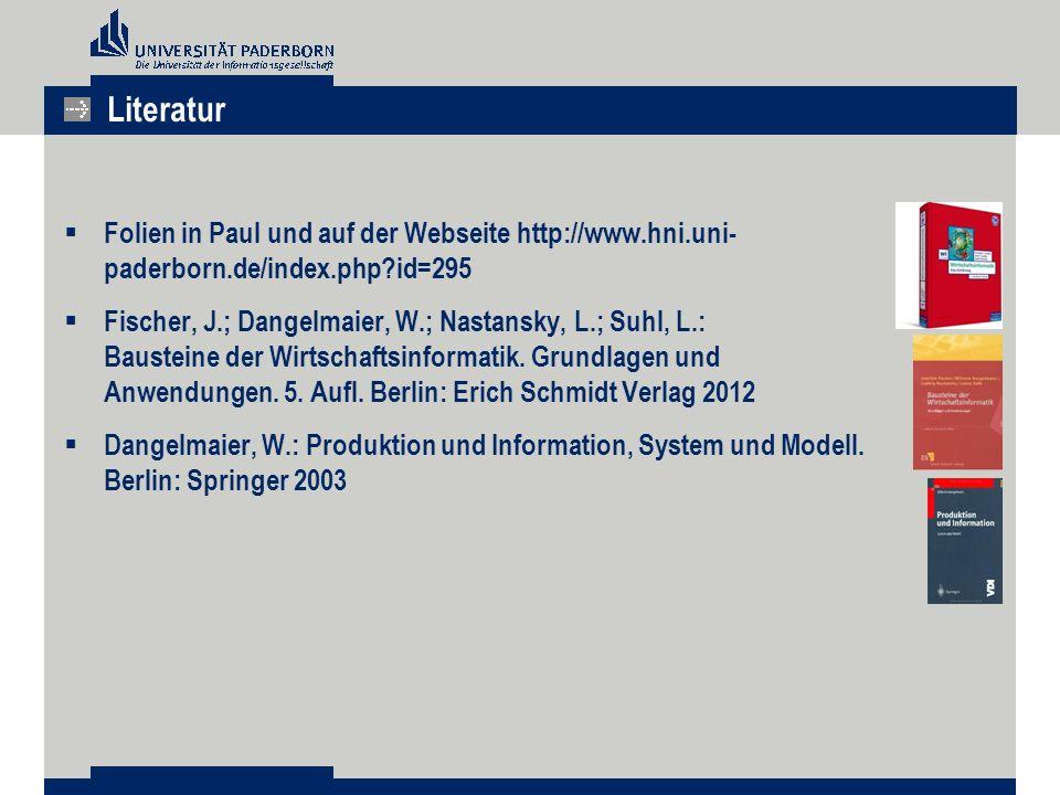  Folien in Paul und auf der Webseite http://www.hni.uni- paderborn.de/index.php?id=295  Fischer, J.; Dangelmaier, W.; Nastansky, L.; Suhl, L.: Bausteine der Wirtschaftsinformatik.