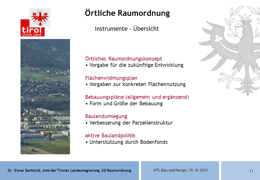 Dr. Elmar Berktold, Amt der Tiroler Landesregierung, SG Raumordnung HTL Bau und Design, 19.10.2015 11 Instrumente - Übersicht Örtliches Raumordnungsko