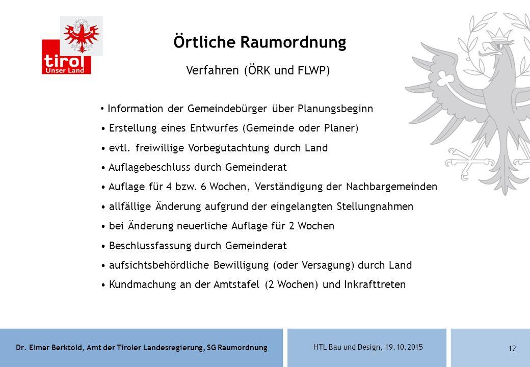 Dr. Elmar Berktold, Amt der Tiroler Landesregierung, SG Raumordnung HTL Bau und Design, 19.10.2015 12 Verfahren (ÖRK und FLWP) Information der Gemeind