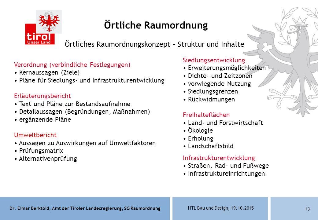 Dr. Elmar Berktold, Amt der Tiroler Landesregierung, SG Raumordnung HTL Bau und Design, 19.10.2015 13 Örtliches Raumordnungskonzept – Struktur und Inh