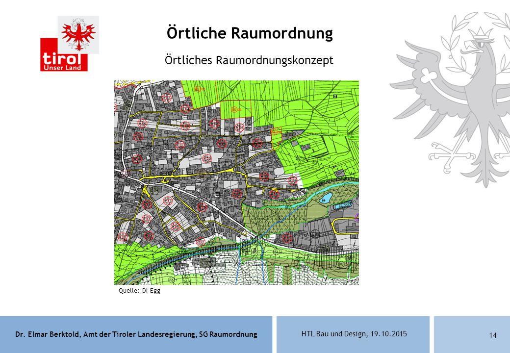 Dr. Elmar Berktold, Amt der Tiroler Landesregierung, SG Raumordnung HTL Bau und Design, 19.10.2015 14 Örtliches Raumordnungskonzept Örtliche Raumordnu
