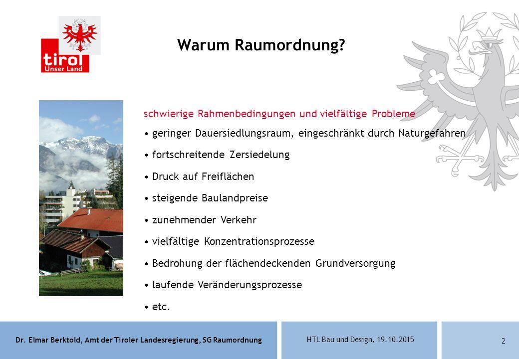 Dr. Elmar Berktold, Amt der Tiroler Landesregierung, SG Raumordnung HTL Bau und Design, 19.10.2015 2 Warum Raumordnung? schwierige Rahmenbedingungen u