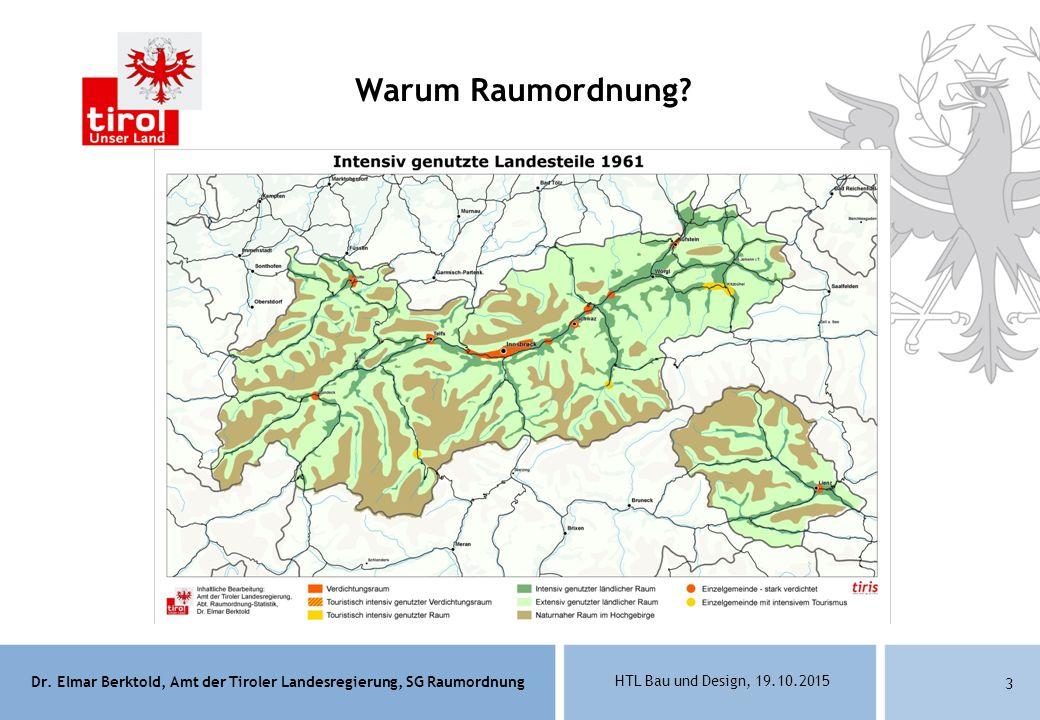 Dr. Elmar Berktold, Amt der Tiroler Landesregierung, SG Raumordnung HTL Bau und Design, 19.10.2015 3 Warum Raumordnung?