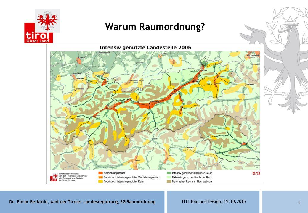 Dr. Elmar Berktold, Amt der Tiroler Landesregierung, SG Raumordnung HTL Bau und Design, 19.10.2015 4 Warum Raumordnung?