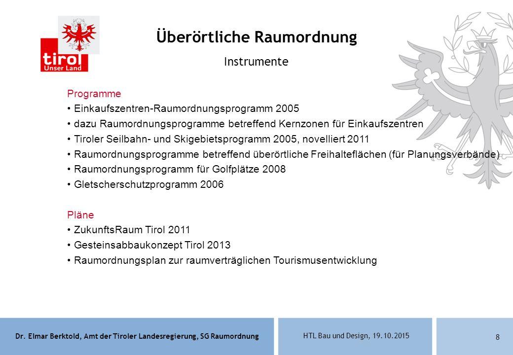 Dr. Elmar Berktold, Amt der Tiroler Landesregierung, SG Raumordnung HTL Bau und Design, 19.10.2015 8 Programme Einkaufszentren-Raumordnungsprogramm 20