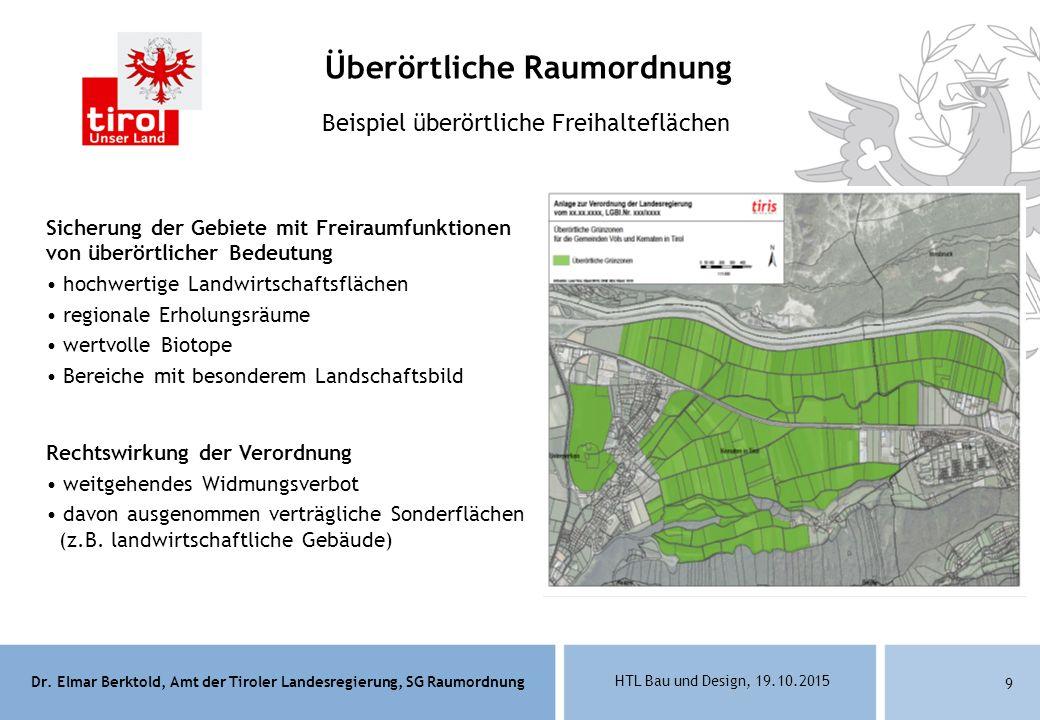 Dr. Elmar Berktold, Amt der Tiroler Landesregierung, SG Raumordnung HTL Bau und Design, 19.10.2015 9 Beispiel überörtliche Freihalteflächen Sicherung
