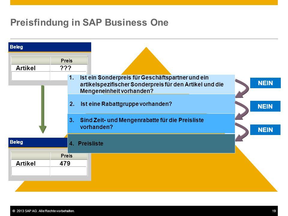 ©2013 SAP AG.Alle Rechte vorbehalten.19 Preisfindung in SAP Business One Beleg Artikel ??.