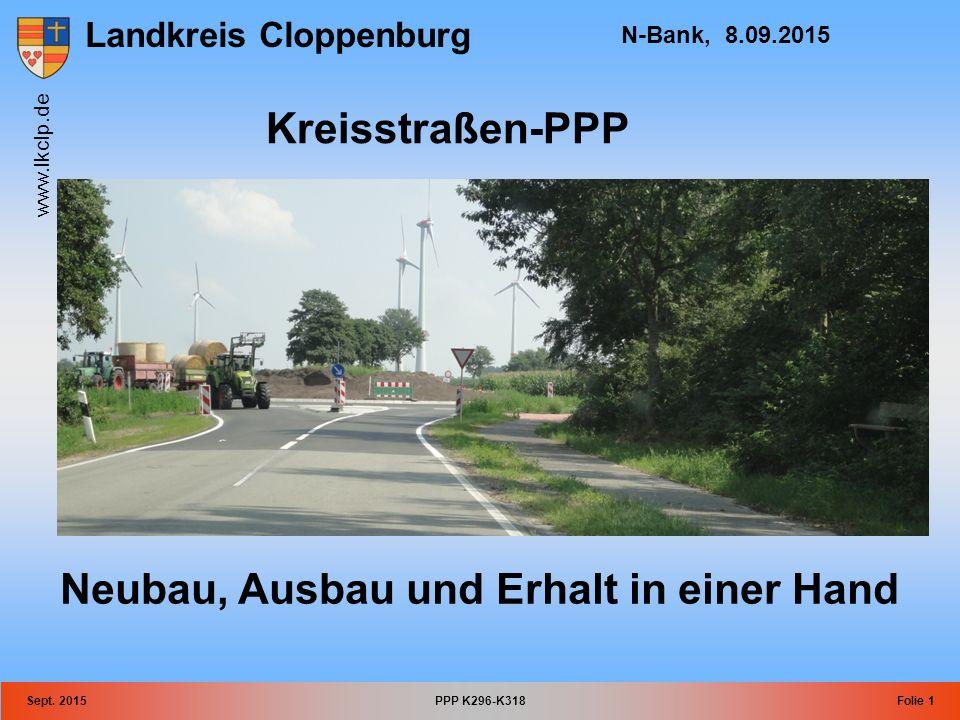Landkreis Cloppenburg www.lkclp.de Sept. 2015PPP K296-K318Folie 1 N-Bank, 8.09.2015 Kreisstraßen-PPP Neubau, Ausbau und Erhalt in einer Hand