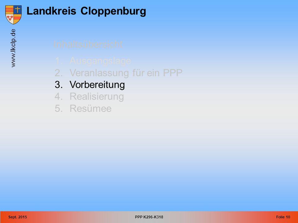 Landkreis Cloppenburg www.lkclp.de Sept. 2015PPP K296-K318Folie 10 Inhaltsübersicht 1.Ausgangslage 2.Veranlassung für ein PPP 3.Vorbereitung 4.Realisi
