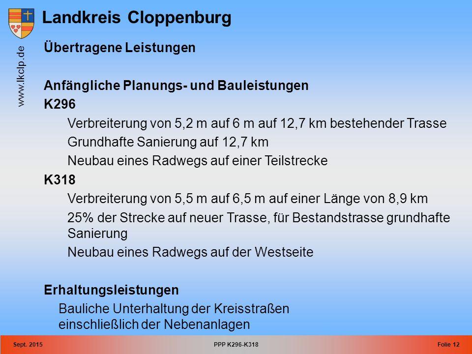 Landkreis Cloppenburg www.lkclp.de Sept. 2015PPP K296-K318Folie 12 Übertragene Leistungen Anfängliche Planungs- und Bauleistungen K296 Verbreiterung v