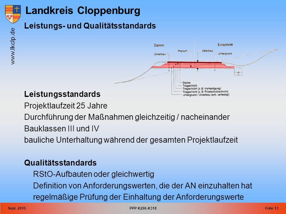 Landkreis Cloppenburg www.lkclp.de Sept. 2015PPP K296-K318Folie 13 Leistungs- und Qualitätsstandards Leistungsstandards Projektlaufzeit 25 Jahre Durch