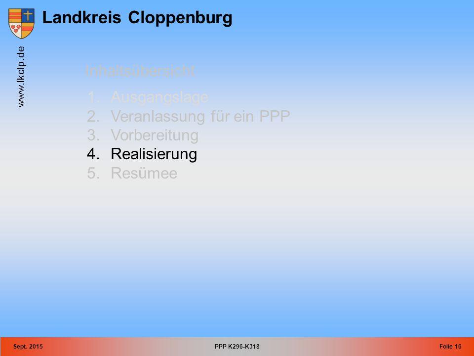 Landkreis Cloppenburg www.lkclp.de Sept. 2015PPP K296-K318Folie 16 Inhaltsübersicht 1.Ausgangslage 2.Veranlassung für ein PPP 3.Vorbereitung 4.Realisi