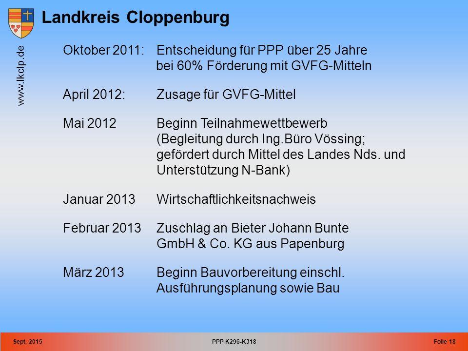 Landkreis Cloppenburg www.lkclp.de Sept. 2015PPP K296-K318Folie 18 Oktober 2011:Entscheidung für PPP über 25 Jahre bei 60% Förderung mit GVFG-Mitteln