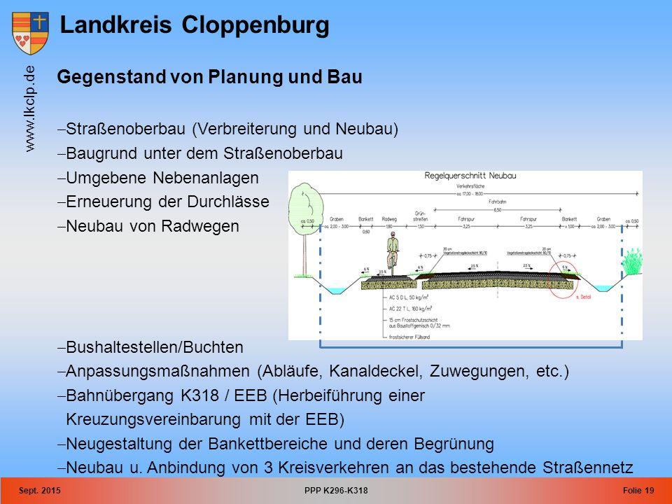 Landkreis Cloppenburg www.lkclp.de Sept. 2015PPP K296-K318Folie 19 Gegenstand von Planung und Bau  Straßenoberbau (Verbreiterung und Neubau)  Baugru