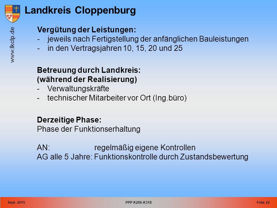 Landkreis Cloppenburg www.lkclp.de Sept. 2015PPP K296-K318Folie 22 Vergütung der Leistungen: -jeweils nach Fertigstellung der anfänglichen Bauleistung