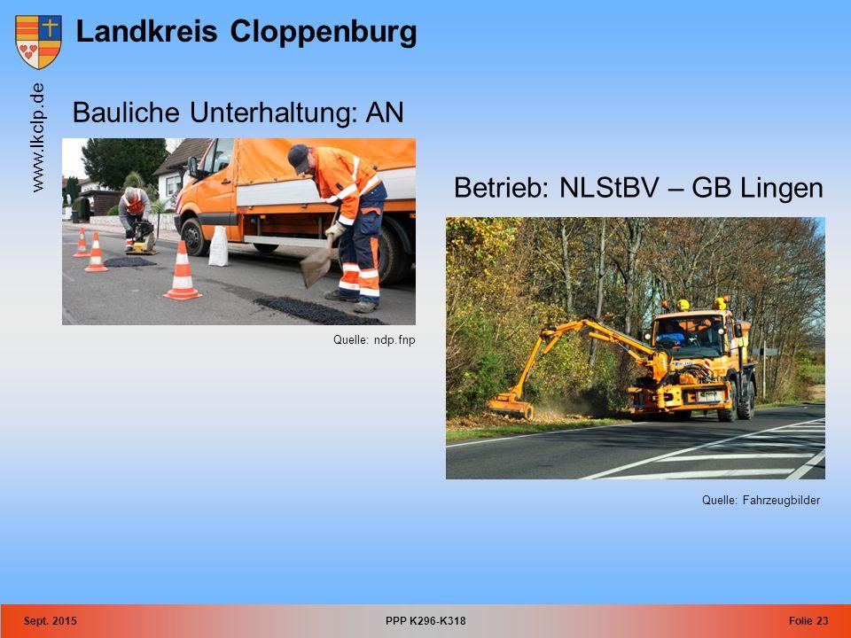 Landkreis Cloppenburg www.lkclp.de Sept. 2015PPP K296-K318Folie 23 Betrieb: NLStBV – GB Lingen Quelle: Fahrzeugbilder Bauliche Unterhaltung: AN Quelle