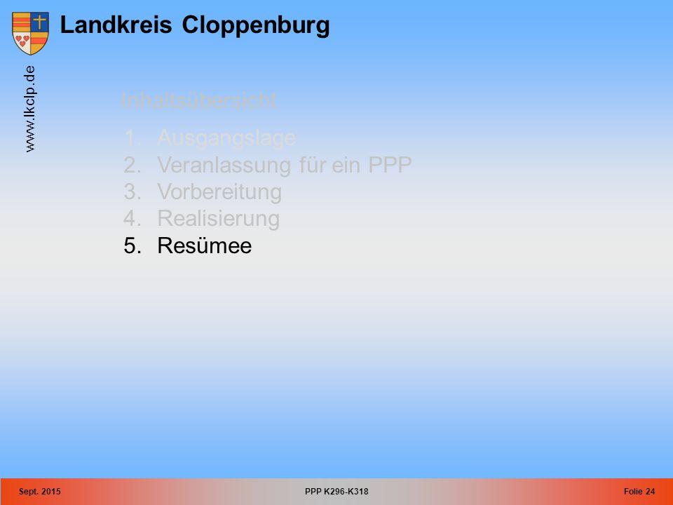 Landkreis Cloppenburg www.lkclp.de Sept. 2015PPP K296-K318Folie 24 Inhaltsübersicht 1.Ausgangslage 2.Veranlassung für ein PPP 3.Vorbereitung 4.Realisi