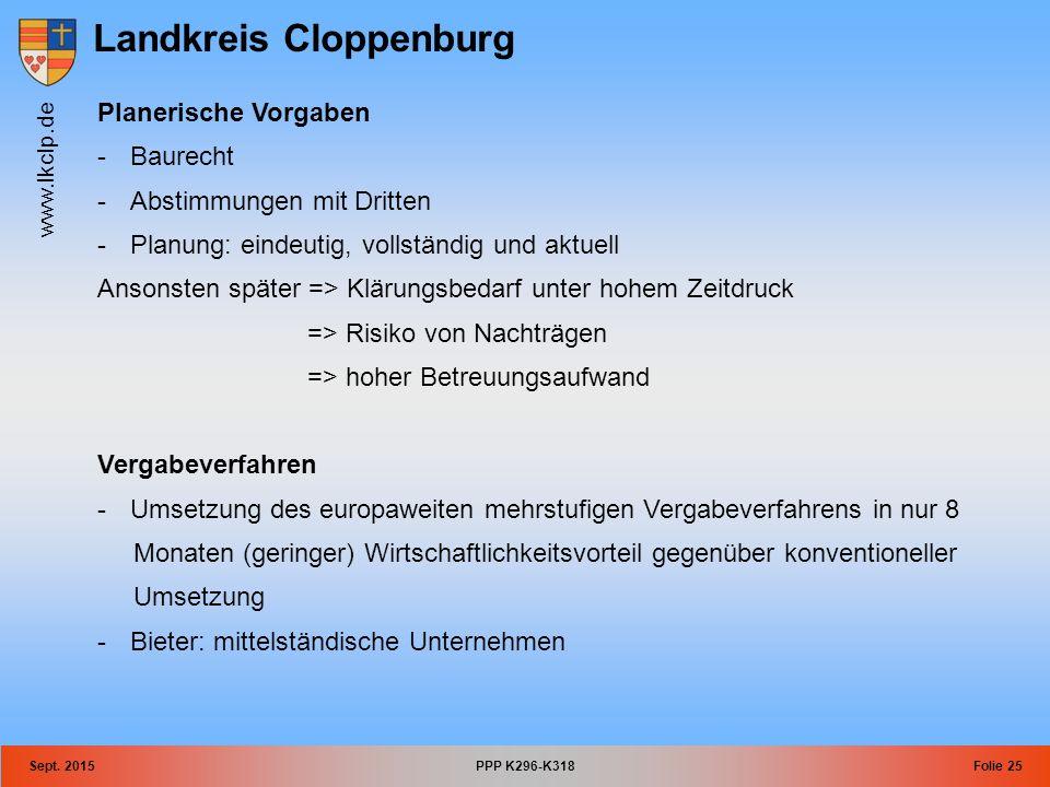 Landkreis Cloppenburg www.lkclp.de Sept. 2015PPP K296-K318Folie 25 Planerische Vorgaben -Baurecht -Abstimmungen mit Dritten -Planung: eindeutig, volls