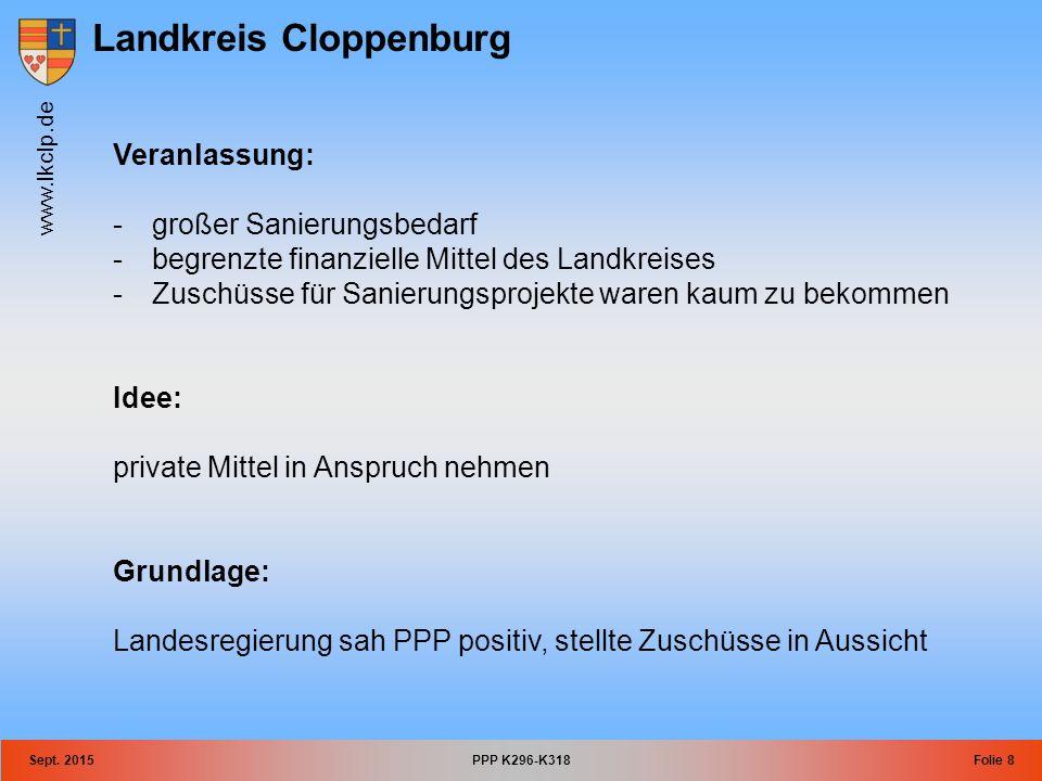 Landkreis Cloppenburg www.lkclp.de Sept. 2015PPP K296-K318Folie 8 Veranlassung: -großer Sanierungsbedarf -begrenzte finanzielle Mittel des Landkreises