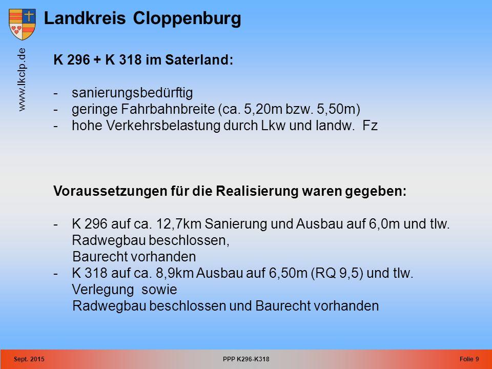 Landkreis Cloppenburg www.lkclp.de Sept. 2015PPP K296-K318Folie 9 K 296 + K 318 im Saterland: -sanierungsbedürftig -geringe Fahrbahnbreite (ca. 5,20m