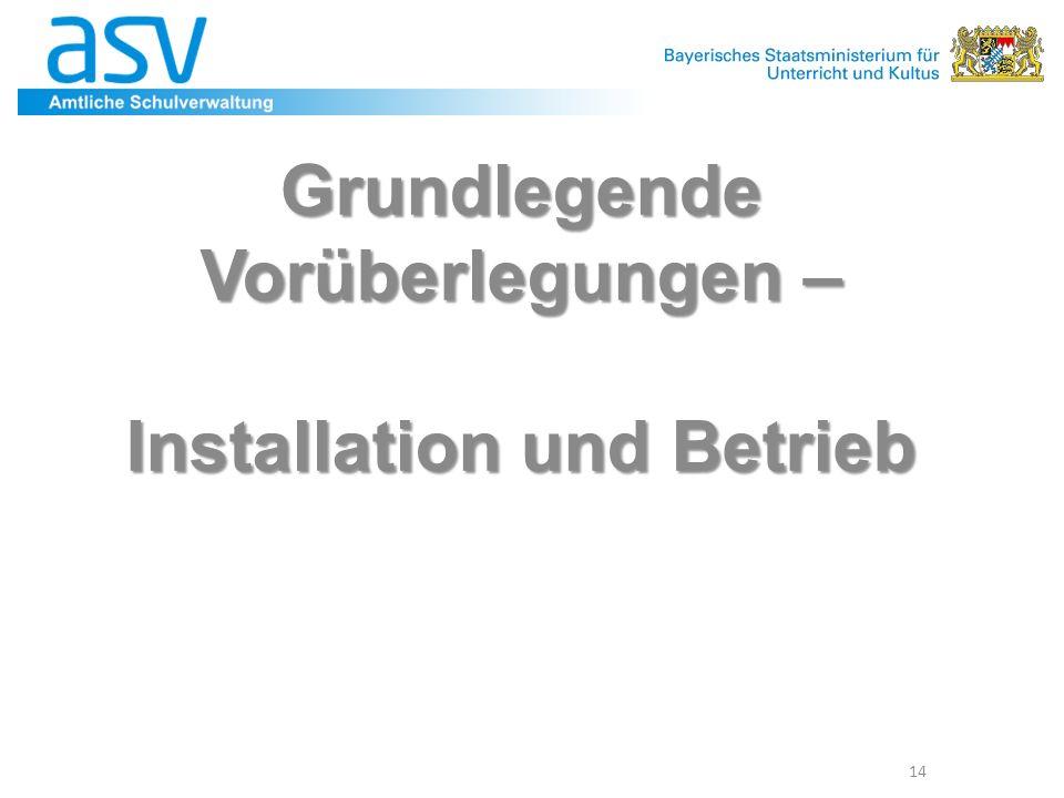 Grundlegende Vorüberlegungen – Installation und Betrieb 14