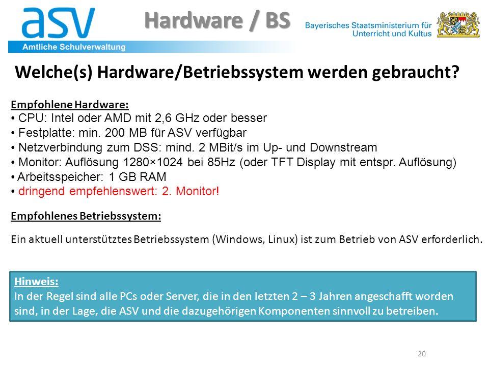 20 Welche(s) Hardware/Betriebssystem werden gebraucht? Empfohlene Hardware: CPU: Intel oder AMD mit 2,6 GHz oder besser Festplatte: min. 200 MB für AS