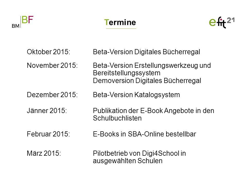 Eckpunkte und Ausblick Weiterentwicklung der E-Books zu interaktiven digitalen Schulbüchern (E-Book+) und Ablöse von SbX Mehr als 900 E-Book Angebote für die erste Ausbauphase 2016/2017 Integration der Lernplattformen Preis der E-Books richtet sich nach dem Printprodukt, es gibt keine Preisaufschläge Neben der Online-Version gibt es auch eine Offline-Version E-Books sind Endgeräte-unabhängig und über die aktuellsten Browser aufrufbar