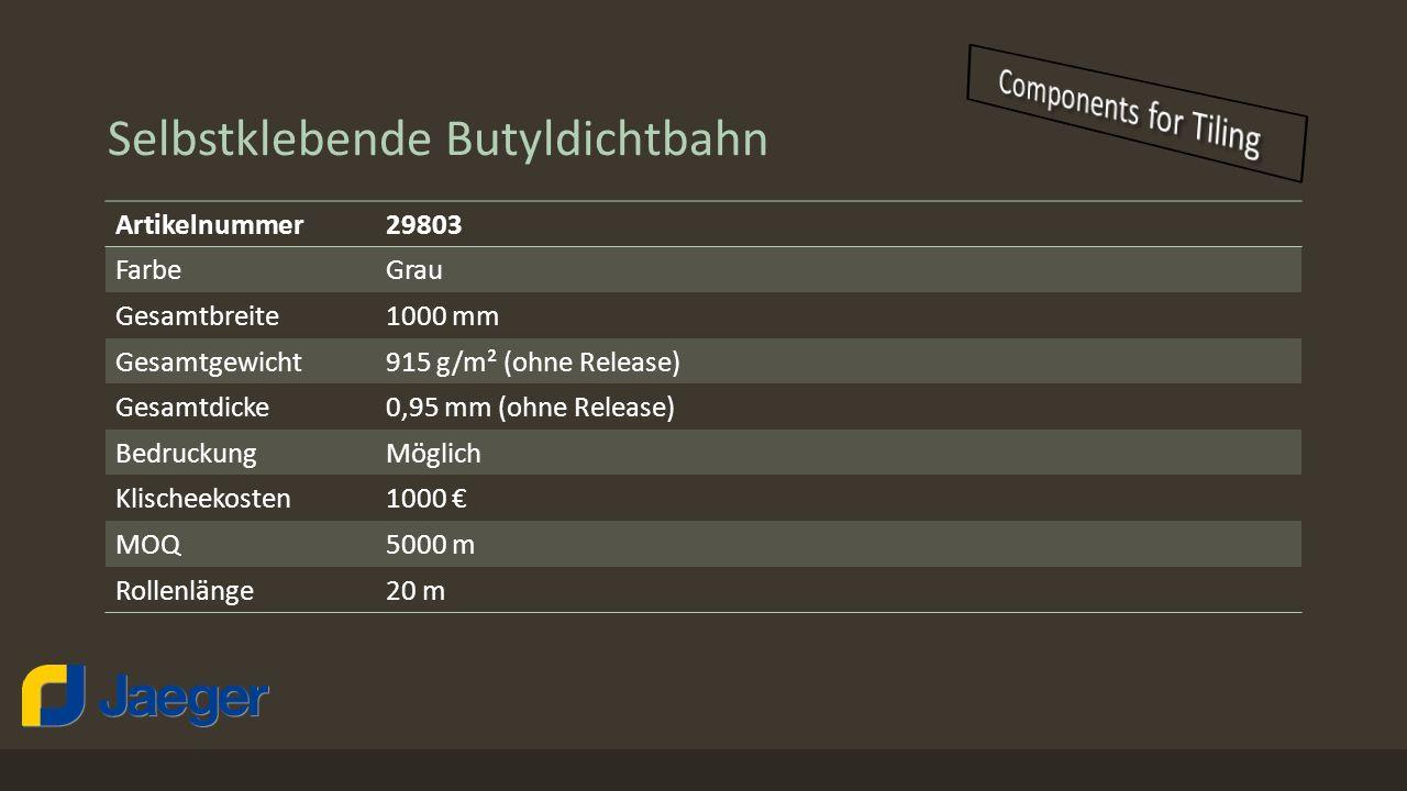 Selbstklebende Butyldichtbahn Artikelnummer29803 FarbeGrau Gesamtbreite1000 mm Gesamtgewicht915 g/m² (ohne Release) Gesamtdicke0,95 mm (ohne Release)