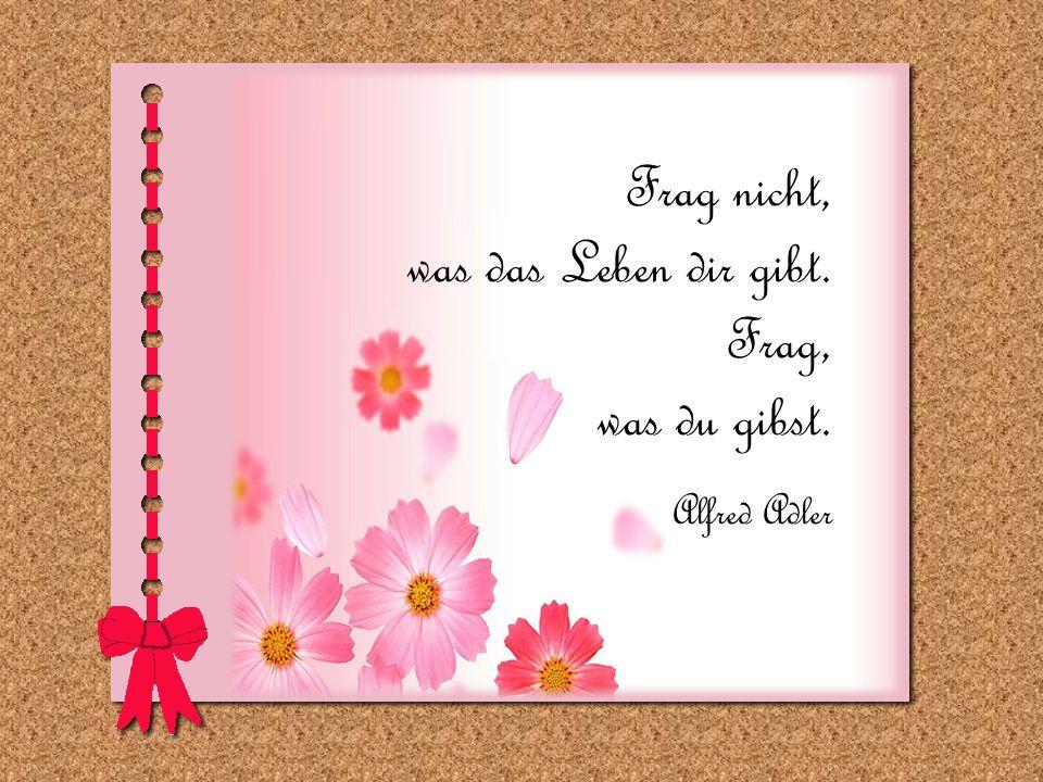 Frag nicht, was das Leben dir gibt. Frag, was du gibst. Alfred Adler