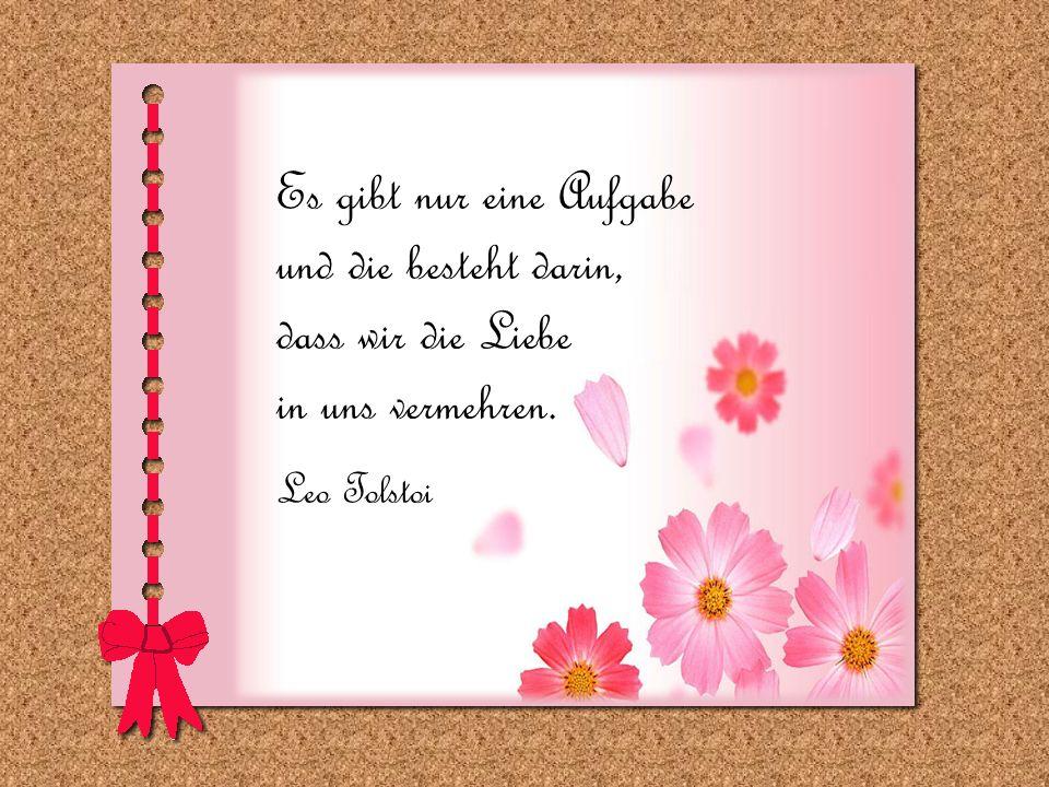 Es gibt nur eine Aufgabe und die besteht darin, dass wir die Liebe in uns vermehren. Leo Tolstoi