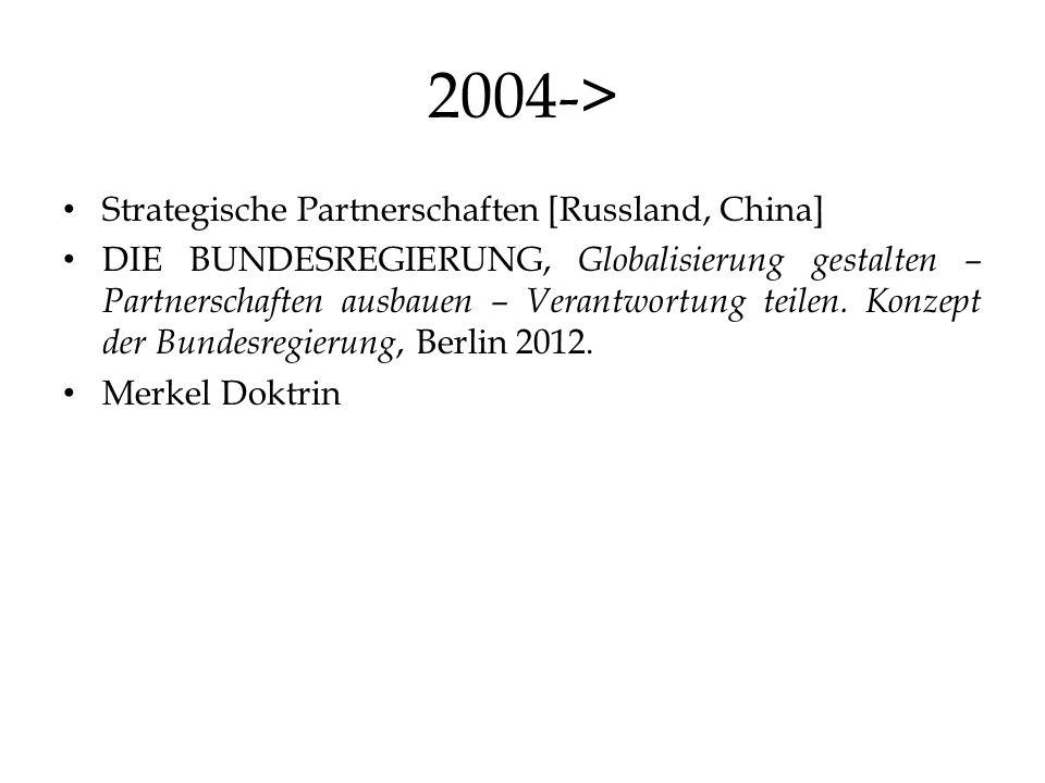 2004-> Strategische Partnerschaften [Russland, China] DIE BUNDESREGIERUNG, Globalisierung gestalten – Partnerschaften ausbauen – Verantwortung teilen.