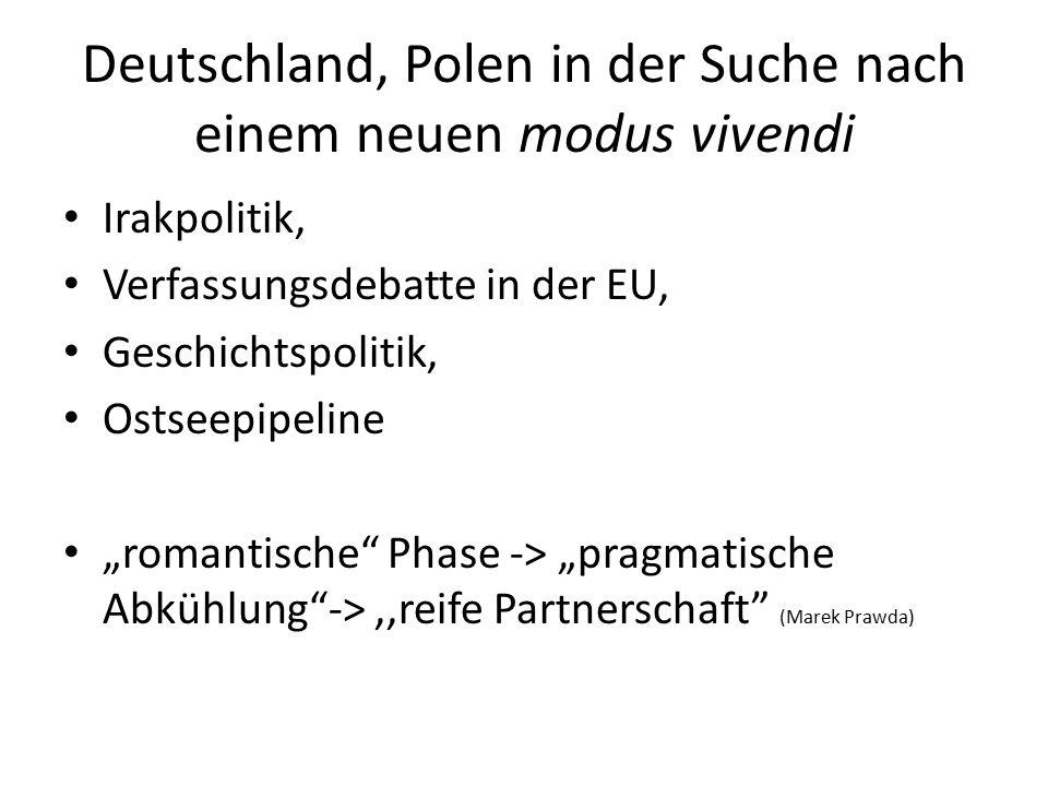 """Deutschland, Polen in der Suche nach einem neuen modus vivendi Irakpolitik, Verfassungsdebatte in der EU, Geschichtspolitik, Ostseepipeline """"romantische Phase -> """"pragmatische Abkühlung -> ''reife Partnerschaft (Marek Prawda)"""