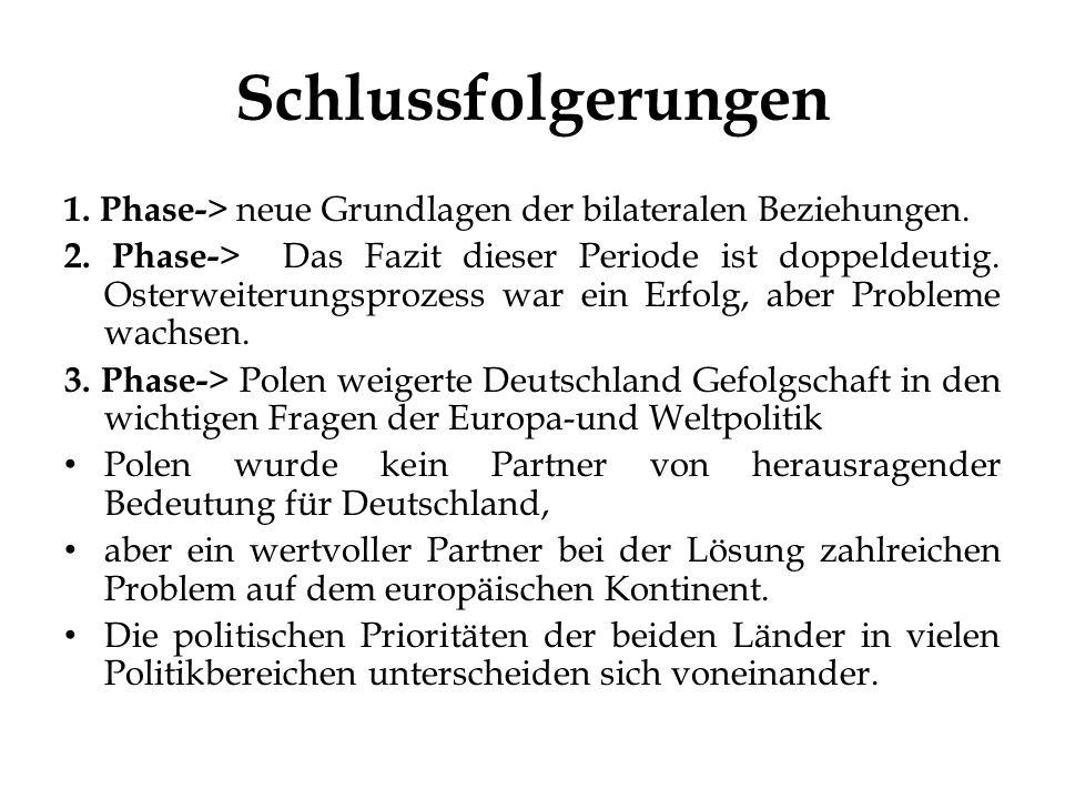 Schlussfolgerungen 1.Phase- > neue Grundlagen der bilateralen Beziehungen.