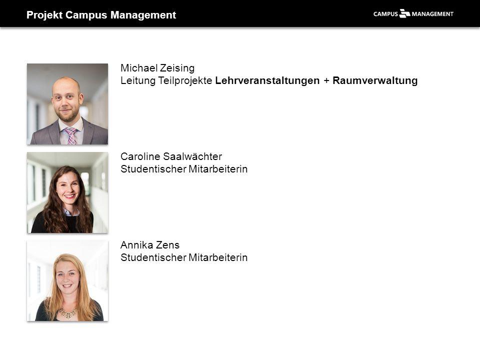 Projekt Campus Management Michael Zeising Leitung Teilprojekte Lehrveranstaltungen + Raumverwaltung Caroline Saalwächter Studentischer Mitarbeiterin A