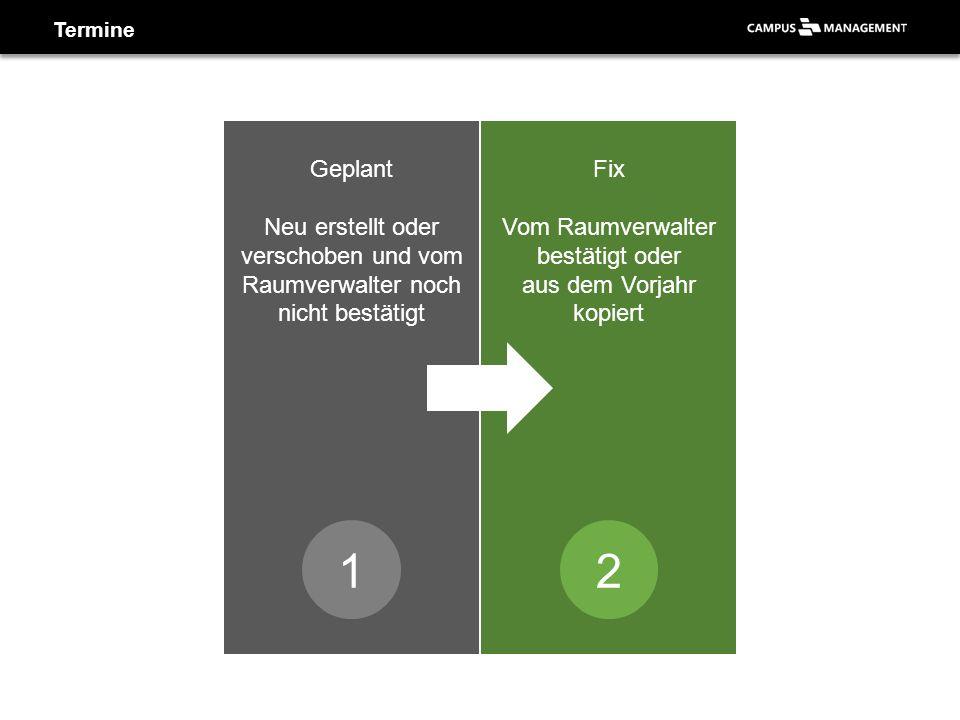 Termine Genehmigt Sichtbar für die Studierenden Fix Vom Raumverwalter bestätigt oder aus dem Vorjahr kopiert 12 Geplant Neu erstellt oder verschoben und vom Raumverwalter noch nicht bestätigt