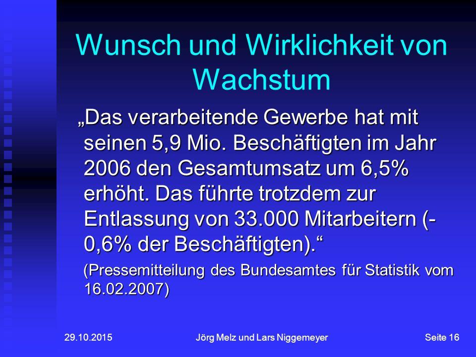 """29.10.2015Jörg Melz und Lars NiggemeyerSeite 16 Wunsch und Wirklichkeit von Wachstum """"Das verarbeitende Gewerbe hat mit seinen 5,9 Mio."""