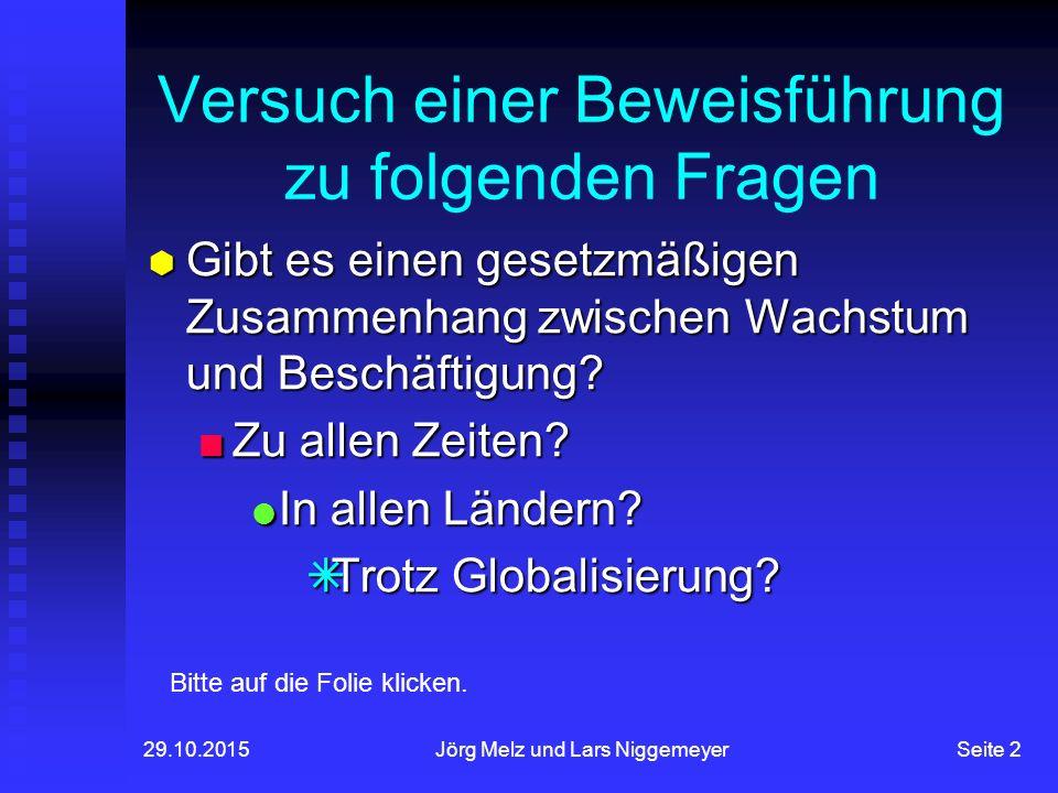 29.10.2015Jörg Melz und Lars NiggemeyerSeite 2 Versuch einer Beweisführung zu folgenden Fragen  Gibt es einen gesetzmäßigen Zusammenhang zwischen Wachstum und Beschäftigung.