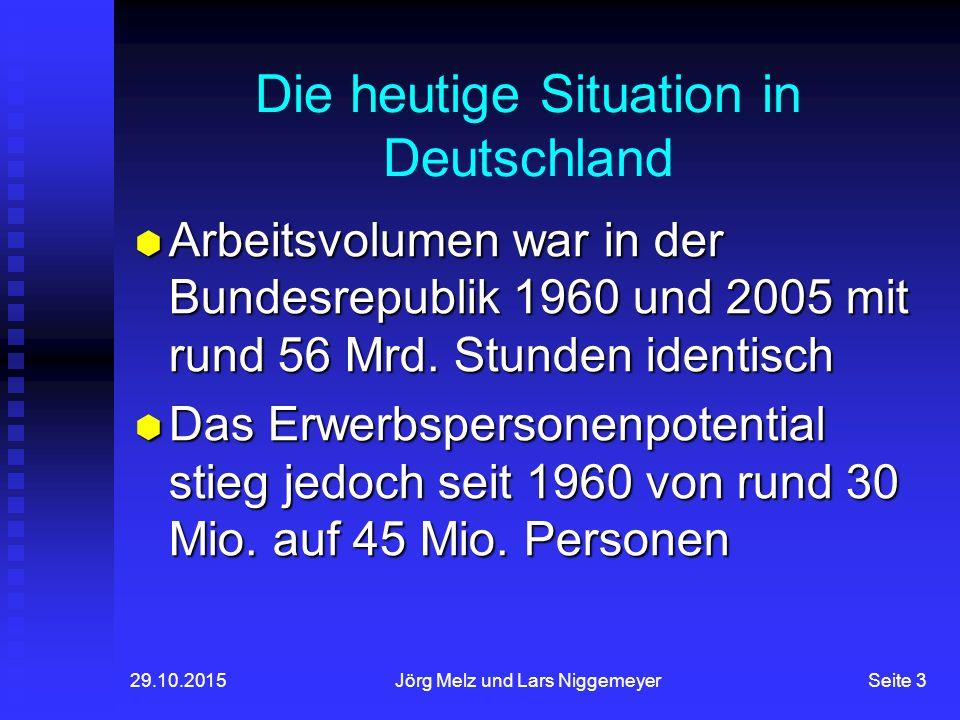 29.10.2015Jörg Melz und Lars NiggemeyerSeite 3 Die heutige Situation in Deutschland  Arbeitsvolumen war in der Bundesrepublik 1960 und 2005 mit rund 56 Mrd.